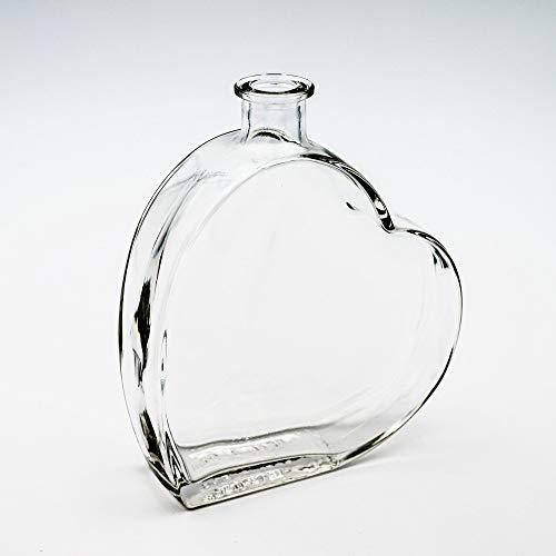 Flaschenbauer - 2 x Herz Flasche Passion: Glasflasche Herz 500 ml - 2 Glasflaschen mit Korken...