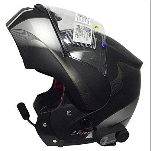 Vollgesichts-Motorradhelm, Street Bike Erwachsener Halbgroßer Stil Mattschwarzer Helm mit modularem Flip Up Dual Visier Sun Shield 21.3-24.8 Zoll,C,L
