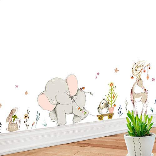 Tatuajes en la pared, dibujos animados, bosque, elefante, conejo, jirafa, animales, decoración de pared, vinilo adhesivo de pared