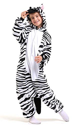 Tante Tina Ganzkörperkostüm Zebra für Kinder - Zebrakostüm für Kinder aus kuschligem Plüsch und Flannel - Schwarz/Weiß - Größe 120-130 (Herstellergröße 115)