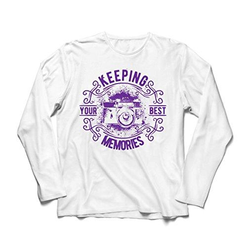 lepni.me Camiseta de Manga Larga para Hombre Cámara del fotógrafo, Foto - manteniendo Sus Mejores Recuerdos, Amante de la fotografía (XS Blanco Multicolor)