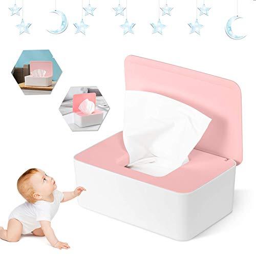 Caja para Toallitas Húmedas Caja Dispensadora de Toallitas Prueba de polvo Caja de pañuelos Caja de Almacenamiento de Pañuelos con Tapa para Oficina en casa (Rosado)
