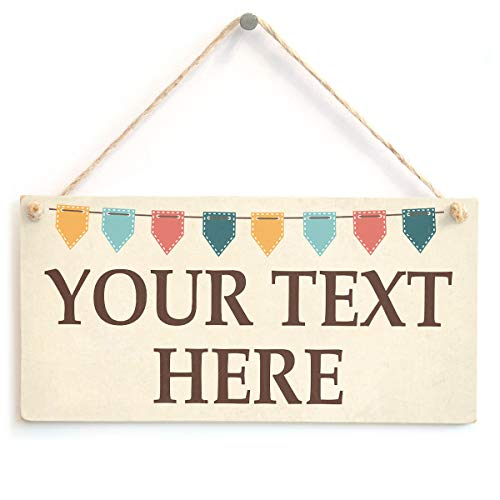 Personalised Your Text Here Sign - Crafty Bunting Design - Custom Wooden Door Plaque