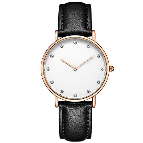 Voigoo Frauen LuxuxRhinestone Quarz-Uhren Dame ultradünne Art und Weise Klassische Kleid Lederband Armbanduhr Relogio Feminino