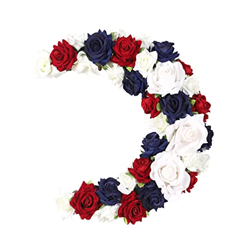ABOOFAN Silk Rose Americana Wreath Independence Day Artificial Rose Garlands Silk Fake Rose Flowers Green Leaves Vine for Home Hotel Office Wedding Party Garden Craft Art Decor