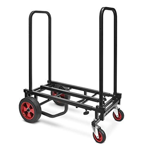 Adjustable Professional Equipment Multi-Cart - Compact 8-in-1 Folding Multi-Cart, Foldable and Lightweight, Hand Truck/Dolly/Platform Cart, Extends Up to 27.52'' to 44.25'' - Pyle PKEQ48