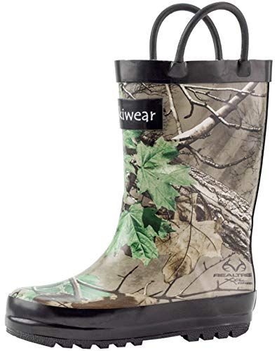 OAKI Kids Rubber Rain Boots with Easy-On Handles, Xtra Green Camo, 9T US Toddler