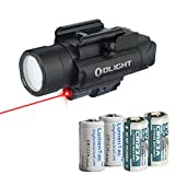 OLIGHT Baldr RL Black 1120 Lumen Pistol Flashlight and Red Laser Sight with 2X LumenTac CR123A
