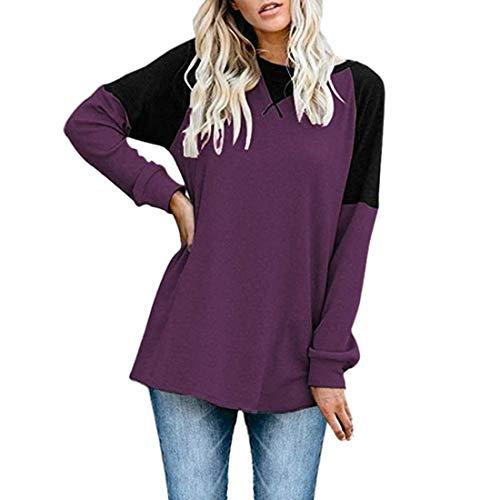 Women T-Shirt Women's Tops Elegant Round Neck Comfortable Casual Fashion Color Block Women Tops Autumn New Big Size Loose Long Sleeve Basic Women T-Shirt I-Purple S