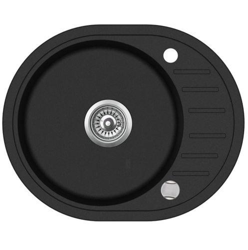 VBChome Spülbecken Granit 59x46 cm Spüle schwarz Einzelbecken Küche Einbauspüle Verbundspüle Küchenspüle gesprenkelt + Drexexcenter + Siphon Waschbecken