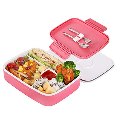 Lunchbox Kinder Erwachsene Bento Box, 5 Unterteilten Fächern Brotdose, Robust und Auslaufsicher Frühstücksbox mit Edelstahl Löffel & Gabel, Praktische Brotzeitbox für Kindergarten Schule und Picknick