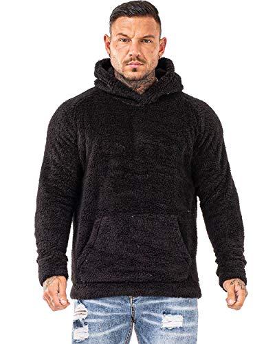 Mens Sherpa Lined Fleece Pullover Hoodie Men Plus Size Fuzzy Sweatshirt Black