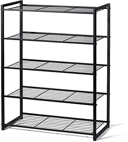 Canby Zapatero de metal (5 estantes), color negro