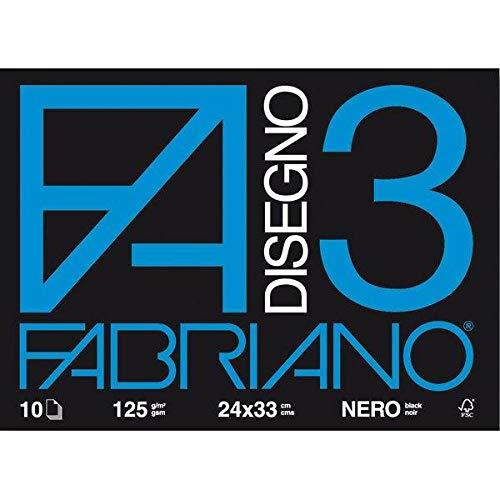Fabriano F3 Nero 24X33 125G/M2 (10 Fogli) Album Disegno, Multicolore, 24 x 33 cm, 8001348107330