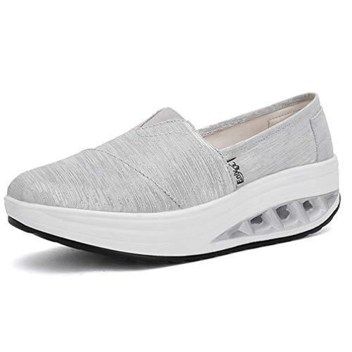 Solshine Damen Slip on Slippers mit Keilabsatz Plateau Loafers Freizeit Sneakers Fitnessschuhe Silber 39EU