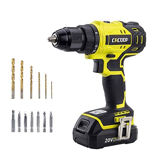 Cacoop 20V Cordless Brushless Drill Set with 2000mAh Battery and Charger, 398 in-lbs,1/2 inch Keyless Chuck, 2 Variable Speed, for Home DIY Wood Drilling