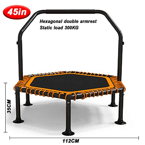 LGPNB 45in/48in fitness trampoline for adults with handle,Foldable gym Rebounder Jumper Max Load for 330LB,for Indoor Exercise Workout-45in hexagon + door handle