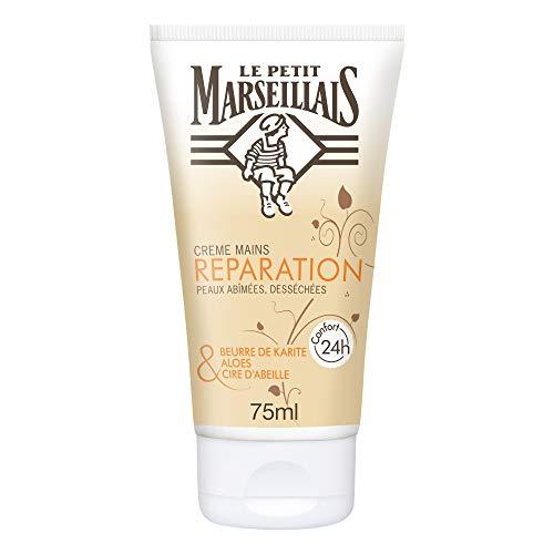 Le Petit Marseillais Crème Mains Réparatrice Peaux Abimées et Desséchées, Beurre de Karité, Aloes et Cire d'Abeille - 1 Tube de 75ml
