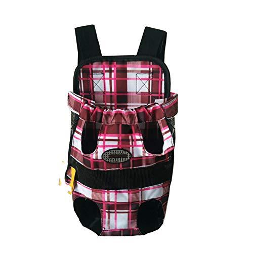 Pet Hunde Rucksack Carrier vorne Pack verstellbar Katze Outdoor Travel Bag Rot Gitter S