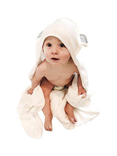 WujaBuja Organic Bamboo Hooded Baby Towel | Ultra Soft & Super Absorbent Bath Towel with Hood | Antibacterial & Hypoallergenic | Great Newborn, Infant, Toddler Shower Present for Boy Or Girl (Gray)