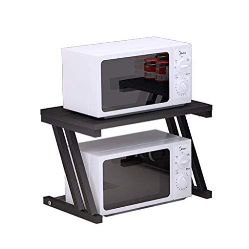 WY-YAN Estante de la cocina de microondas horno de carro doble simple de almacenamiento en rack de almacenamiento en rack horno cocina for guardar objetos Material soporte de suelo simple (Color: NEGR