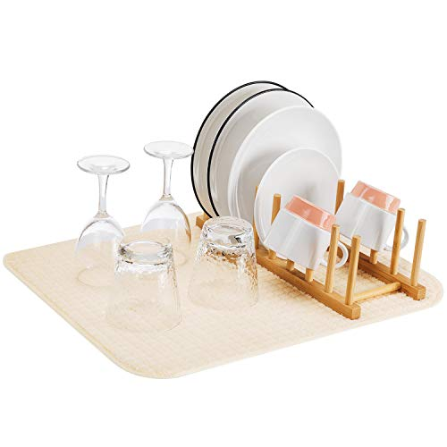 Bamboo Dish Plate Bowl Cup Book Pot Lid Cutting Board Drying Rack with Dish Drying Mat Stand Drainer Storage Holder Organizer Kitchen Cabinet