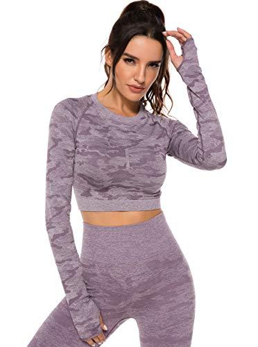 Tops Yoga Camiseta Deportiva Sin Costura Mangas Larga Fitness Mujer Gimnasio Morado M