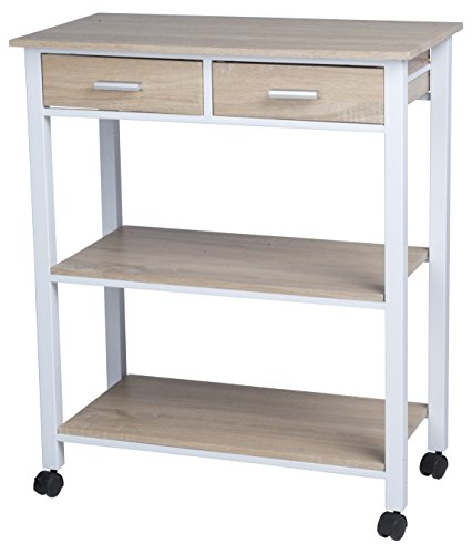 Stylehome Homestyle CE2701008 - Carrello da Cucina con 2 cassetti, 37 x 68,50 x 81 cm, Colore: Bianco/Rovere