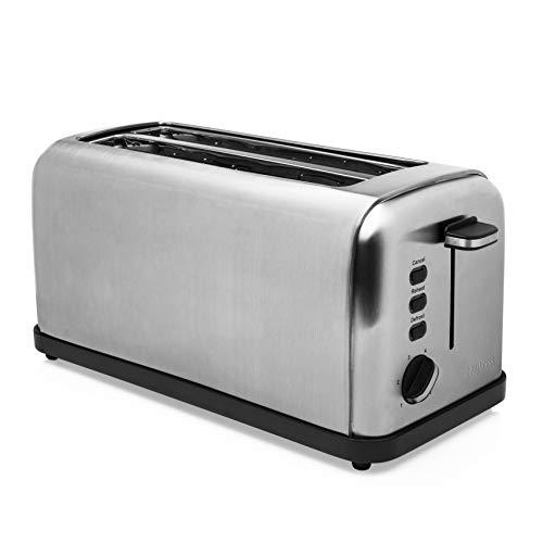 Princess 142389 - Tostadora de doble ranura larga, 1500 W, 6 grados de tostado, Función de descongelado, Bandeja migas extraíble, Acero inoxidable, color plata [Clase de eficiencia energética A+++]
