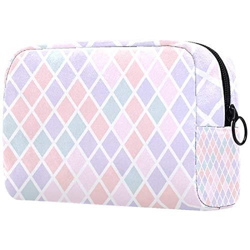 FURINKAZAN Elegante bolsa de maquillaje de viaje con forma de diamante para artículos de tocador, bolsa de maquillaje para hombres y mujeres