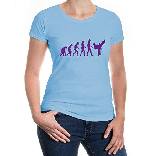 Girlie T-Shirt The Evolution of Karate-L-SkyBlue-Purple