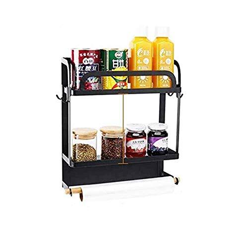 Revestimiento de rack magnético refrigerador, estante de almacenamiento montado en pared magnética, estantes de estantes de cocina de múltiples usos, perchero de especias Ideal para cocina (negro), do