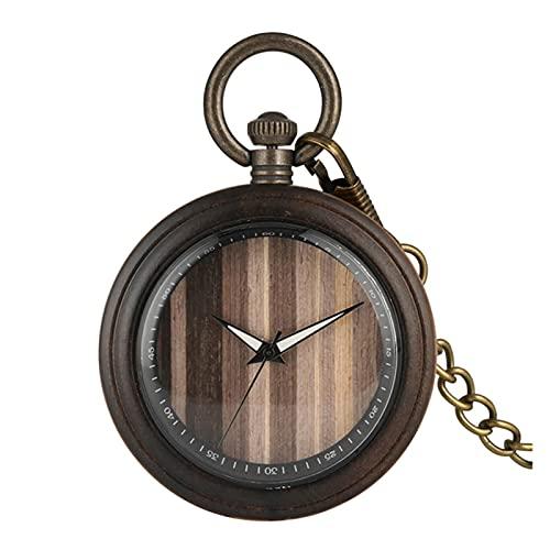 yuyan Reloj de Bolsillo de Madera, Reloj de Bolsillo de cuadrante de Grano de Madera Simple Retro, Reloj de Bolsillo de Cadena Gruesa clásica para niños (Color : C)