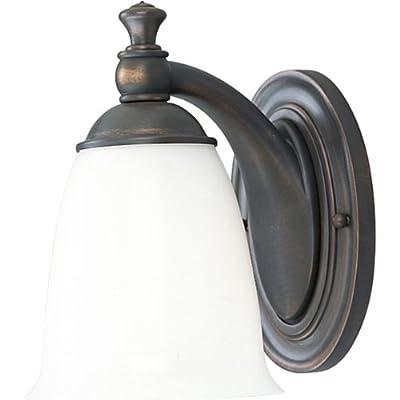 Progress Lighting P3027-74 1-Light Bath Bracket with White Opal Glass, Venetian Bronze