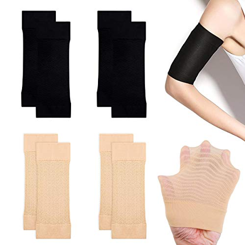 Vockvic 4 Paare Arm Shaping Sleeves Elastische Kompression Arm Shaper Abnehmen Arm Ärmel, Sport Fitness Arm Shaper Fat Buster Off Cellulite Slimming Wrap Belt Band(Schwarz, Beige)