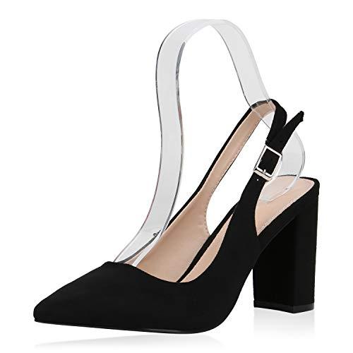 SCARPE VITA Damen Spitze Pumps Slingpumps High Heels Blockabsatz Schuhe Slingback Abendschuhe Elegante Absatzschuhe 187691 Schwarz 36