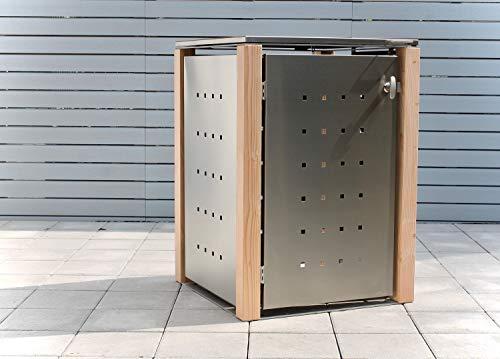 KIRCHBERGER METALL Mülltonnenbox 240L - Edelstahl - Holzpfosten - 1er Box mit Befestigungsset abschließbarer Griff Lärche (Klappdach)