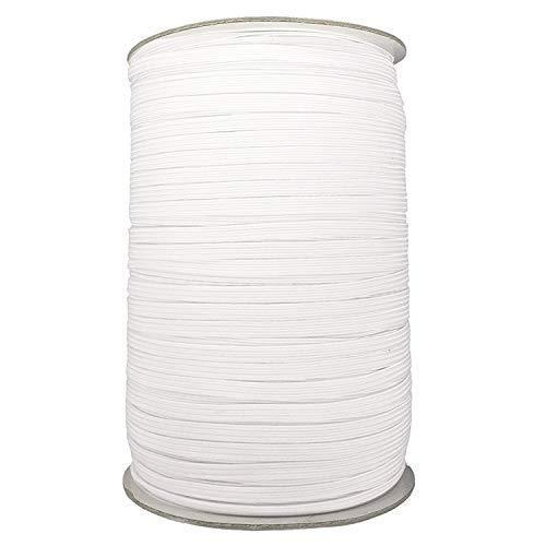 Trimming Shop 5mm breed wit elastisch lint voor naaien en ambachten - spoel van elastische platte band voor kleding - rekbaar snoer voor rokken en broeken taillebanden