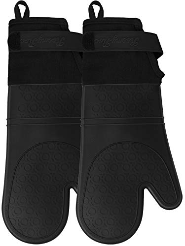 Silicone Oven Mitts with Adjustable Cuff, Oven Mitt with Non-Slip Grip and Thicker Liner, Heat Resistant Pot Holders, Extra Long Professional Flexible Oven Gloves, 1 Pair, 14.7 Inch