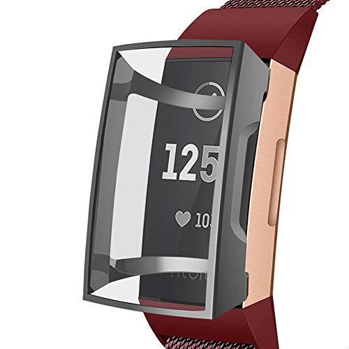 G-RF Funda para Fitbit Charge 3 Pulsera Inteligente TPU De Silicona Transparente Manga Protectora Anti-caída Todo Incluido Cascarón (Negro)