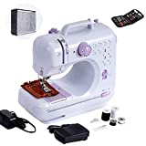 Mini Sewing Machine For Beginner Small Heavy Duty Sewing Machine Portable For Kids Light Weight Kids Sewing Machine Easy to Use With Bobbins Needles And Pedal 2 Speeds Double Treads 12 Built-In Snitches