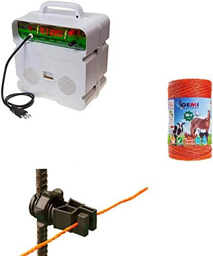 Recinto Elettrico Kit con 1 x Elettrificatore 220V + 1 x Filo 500 MT 4 Mm² + 100 Pezzi isolatori per paletti in Ferro - Recinzione Elettrica Rete Elettrica per Cavalli Mucche maiali Galline Volpi