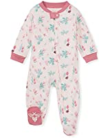 Burt's Bees Baby Baby Girls' Sleep and Play PJs, 100% Organic Cotton One-Piece Pajamas Zip Front Loose Fit Romper Jumpsuit, Lovely Floral, 9 Months