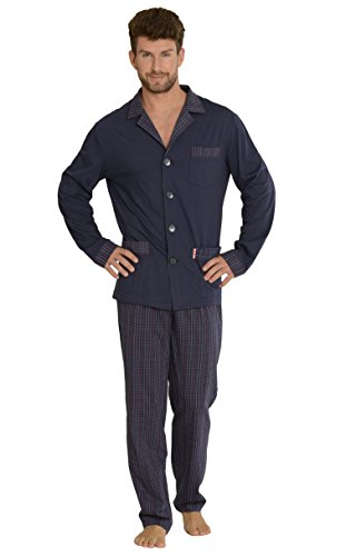 FOREX Lingerie Edler Herren-Pyjama aus 100{abe637d6b31dc87f39abc7af2e9b688ee6fe105c15cdbd0b506c0b3f2b6680a2} Baumwolle Schlafanzug Hausanzug (XL, Dunkelblau)
