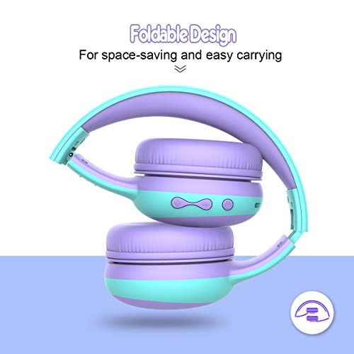 gorsun Bluetooth Kids Headphones with 85dB Limited Volume, Children's Wireless Bluetooth Headphones, Foldable Bluetooth Stereo Over-Ear Kids headsets - Purple