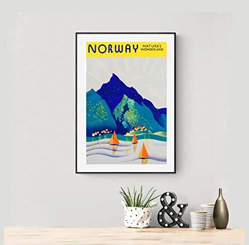 Póster de viaje vintage de Noruega Nature's Wonderland sin marco – Lienzo – Cita motivacional para la pared, decoración del hogar