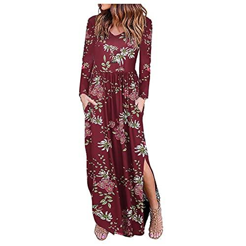 Briskorry Boho Kleider Damen Sommerkleid Blumenkleid Maxikleid V-Ausschnitt Langarm Strandkleid mit Blumendruck Lange Freizeitkleid mit Schlitz
