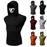 Super Stretch Fitness Men's Ninja Suit Hooded Sleeveless T-Shirt Call of Duty Ghost Skull Mask Training Suit Running Suit (Color : Black, Size : Large)