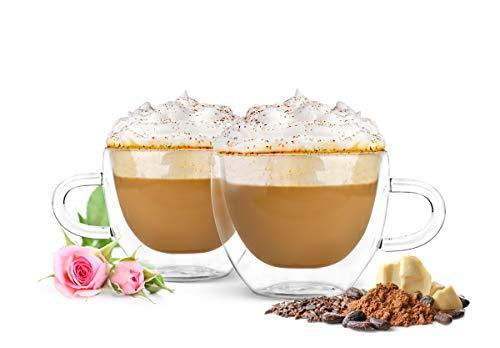 Sendez 4 Doppelwandige Cappuccino Tassen mit Henkel und Löffeln 290ml Kaffeegläser Teegläser Thermogläser Gläser