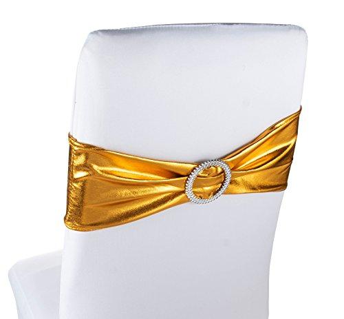Fajas para silla - Paquete de 50 lazos para sillas de boda, color dorado, para decoración de banquetes, decoración de banquetes, aniversario, fiesta de novia, dorado, 67,1 x 15,7 cm